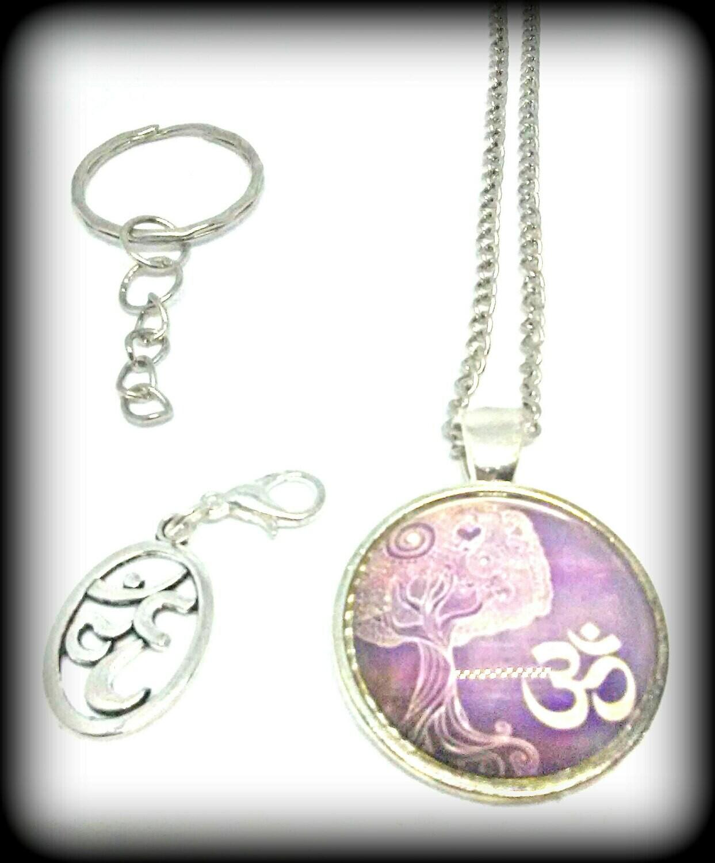 Yoga Necklace Key Chain Gift Set
