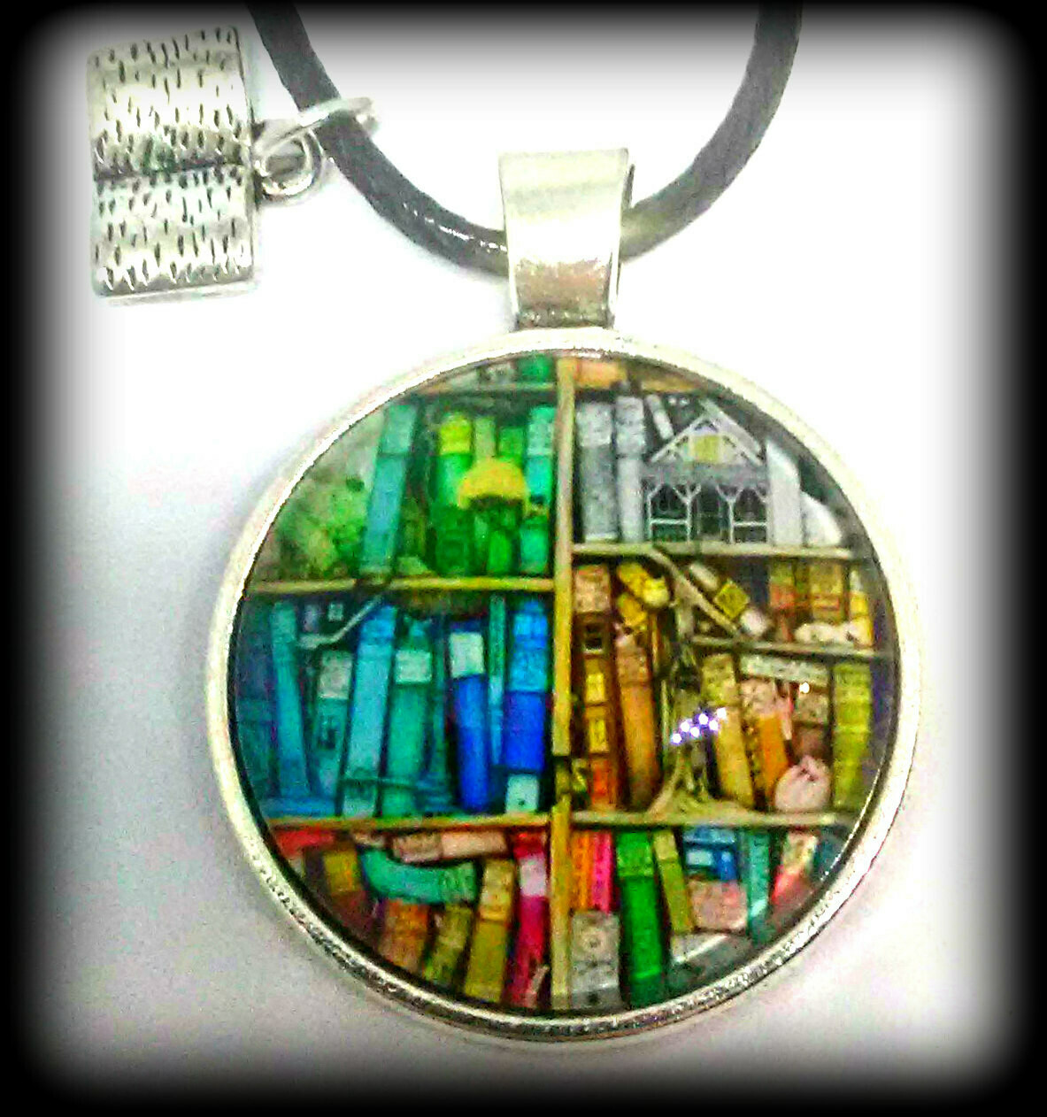 Library Book Shelf Pendant Necklace