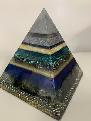 """Pyramid, Solid Resin, 6"""" X 6"""" X 6"""", With Gemstones, HOLD"""