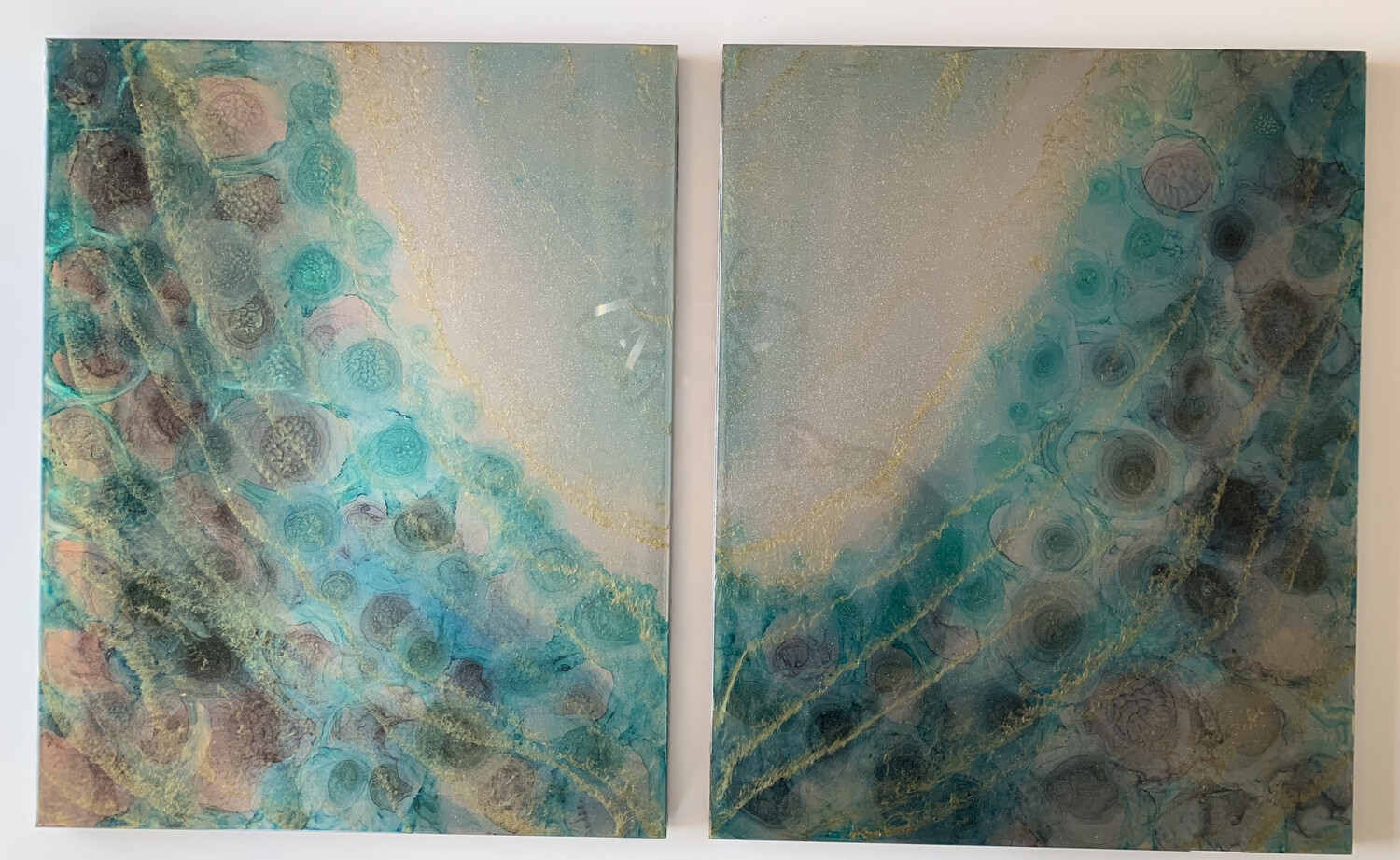 Steel Teal Diptych (2 Pcs) SOLD