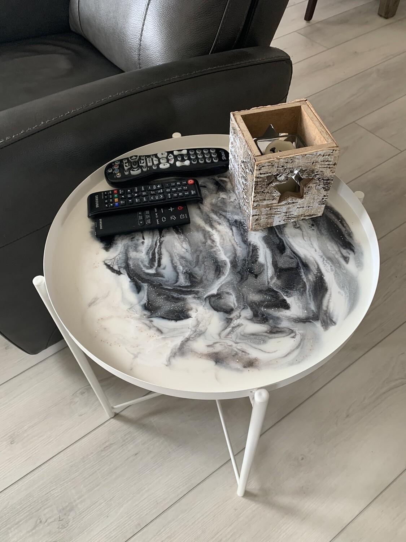 Tray Table, White, Black & Silver Glitter