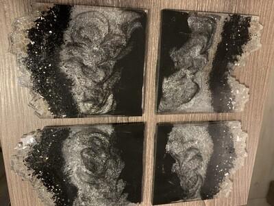 Coasters Black Silver 4pc
