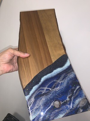 Cheese Board Navy Silver Mixed & Blue Danube Glass Glitter @Mukluk Magpies, Airdrie, Ab