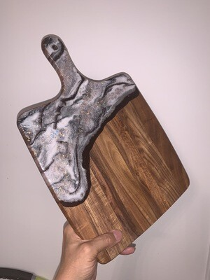 Cheese Board White Black Silver, Brian Glitter Mother Of Pearl Flake @Mukluk Magpies, Airdrie, Ab
