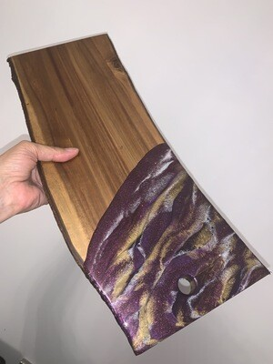 Cheese Board Purples Gold & Pearl White On Live Edge, @Mukluk Magpies, Airdrie, Ab