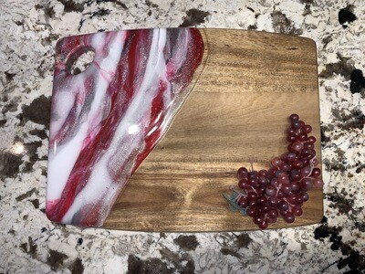 Cheese Charcuterie Board On Acacia Red White Silver @ MukLuk MagPies In Airdrie