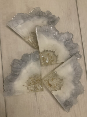 Coasters White & Silver Agate Edge, @ MukLuk Magpies In Airdrie, Ab