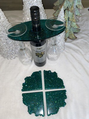 Dark Green Solid Resin Wine Caddy Available @Mukluk Magpies Gift Shop Airdrie, Ab