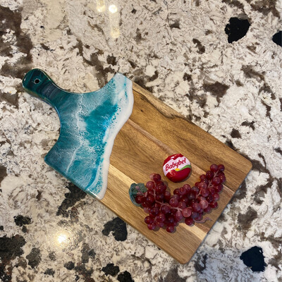 Cheese Board Teal Waves On Paddle Style Acacia, @ Nirvana101, Medicine Hat, Ab