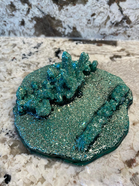 Cell Phone Holder, Quartz Cluster Shape, Jade Green W Silver German Glass Glitter
