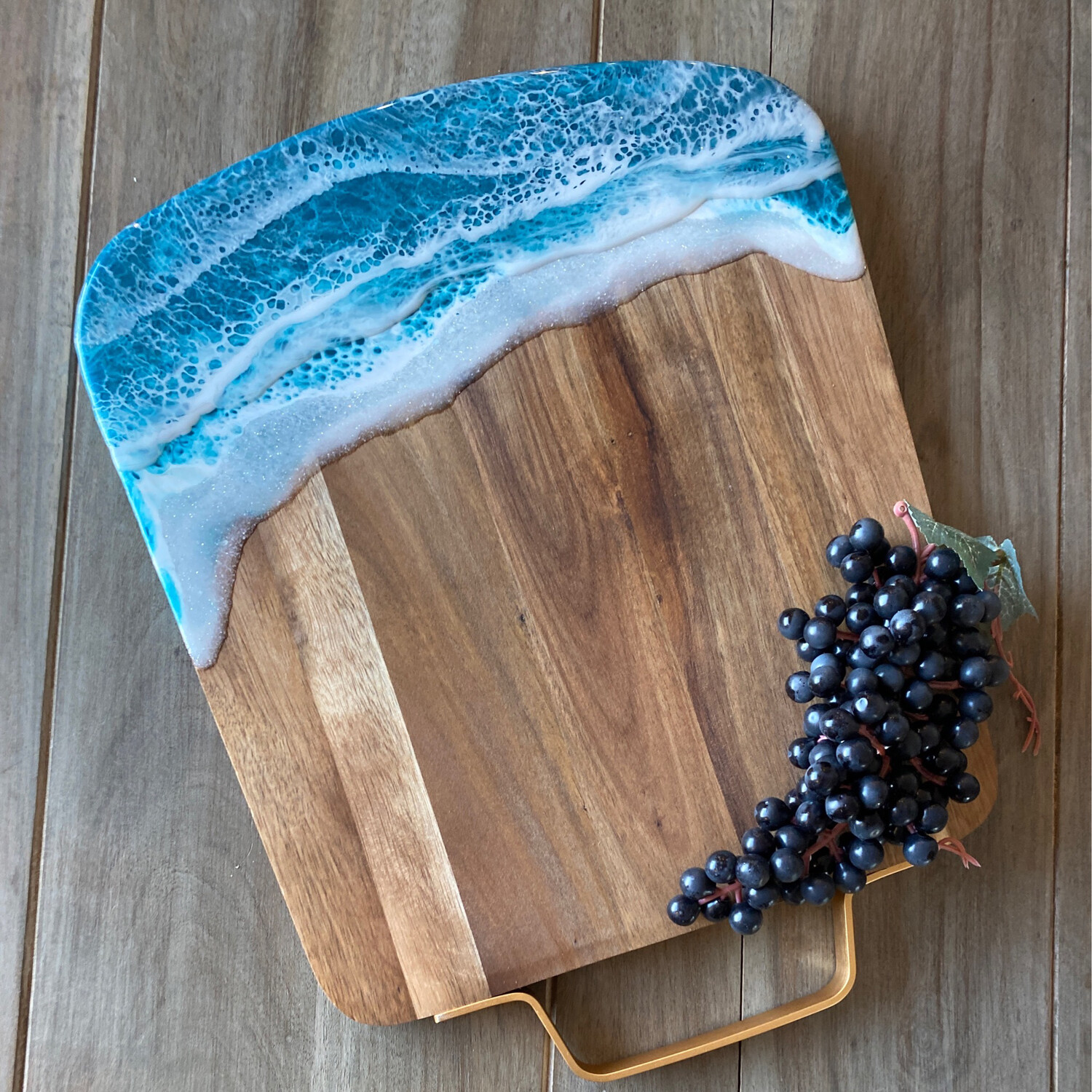 Donated To Urban Clean Living Mother's Day Giveaway.     Cheese Board Teal Waves On Acacia W Metal Handle