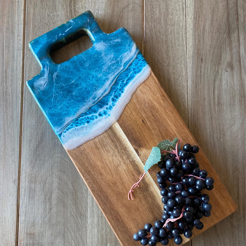 Cheese Board Teal Waves On Acacia
