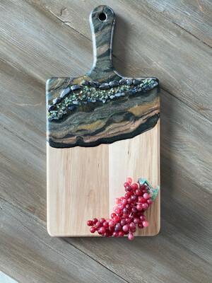 Charcuterie Paddle Board Maple Green Black Gold W Gemstones