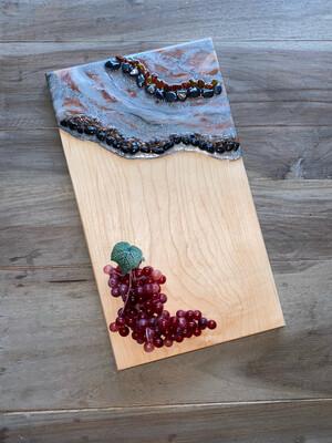Charcuterie Board Maple Red Copper, Silver, White, Black W Gemstones