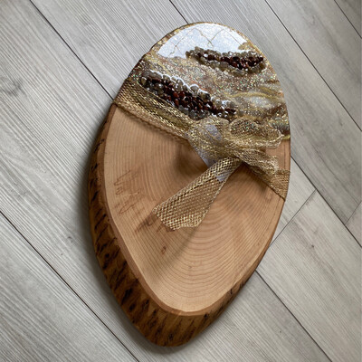 Charcuterie Server Gold Brown Silver White W Gemstones On White Ash Cookie Live Edge