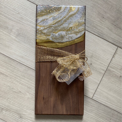 Charcuterie Server White Gold Mother Of Pearl On Black Walnut