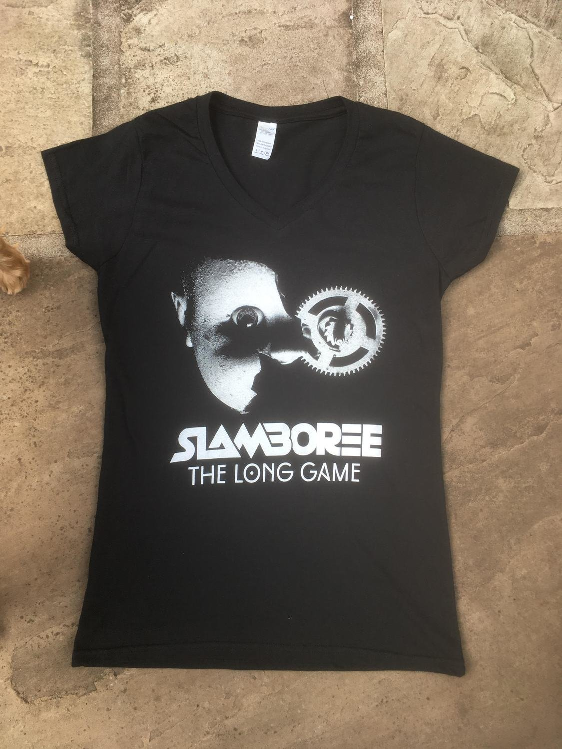 Softstyle Women's V-neck Fitted Black T-shirt - Slamboree The Long Game