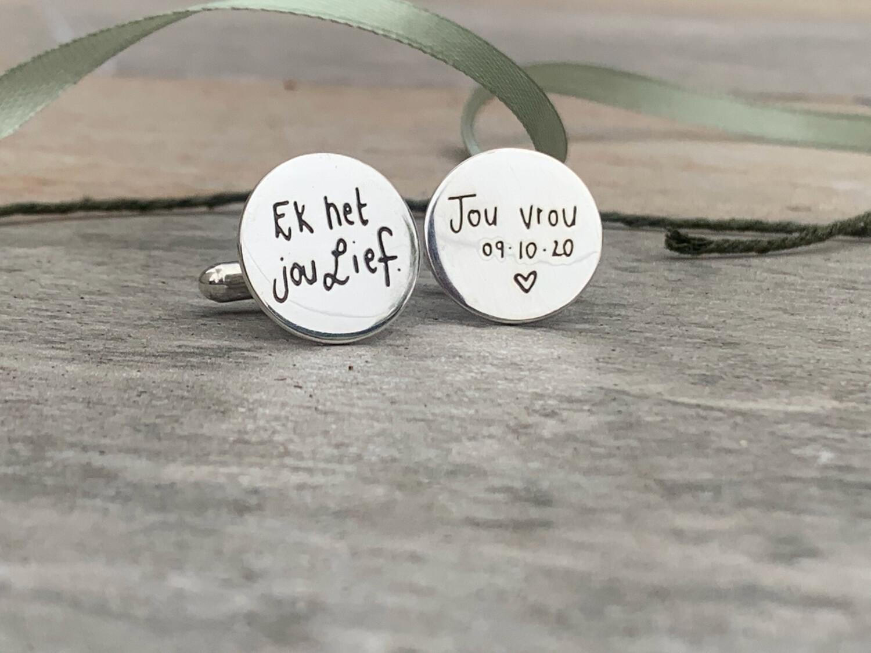 Custom own handwriting message Engraved Cufflinks