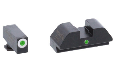 AmeriGlo I-Dot Sight, Fits Glock 42 and 43 - Green Tritium White Outline Front w/ Green Rear