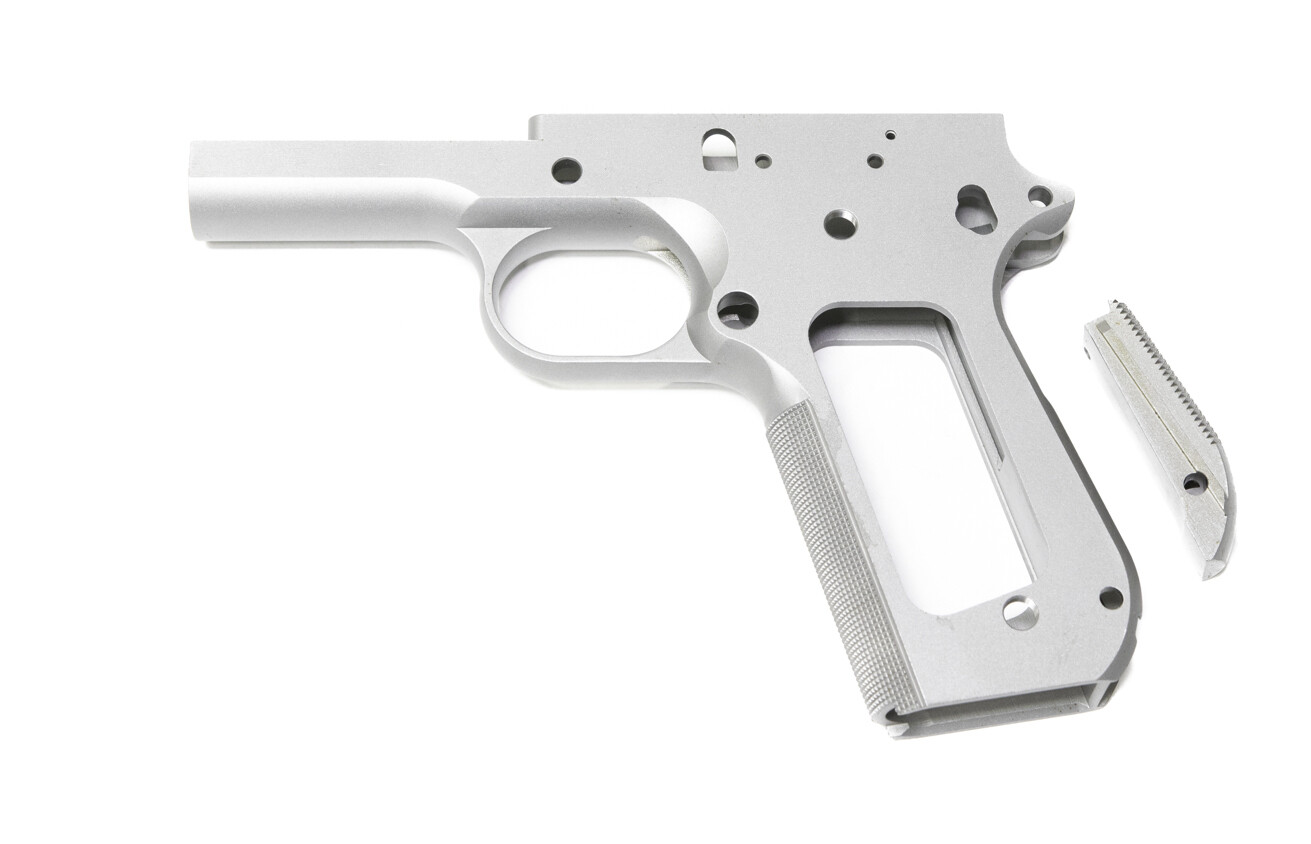 1911 80%  45 ACP Full Size Government 416R Stainless Steel - Bobtail Cut Frame W/ Checkered Grip & Bobtailed Main Spring