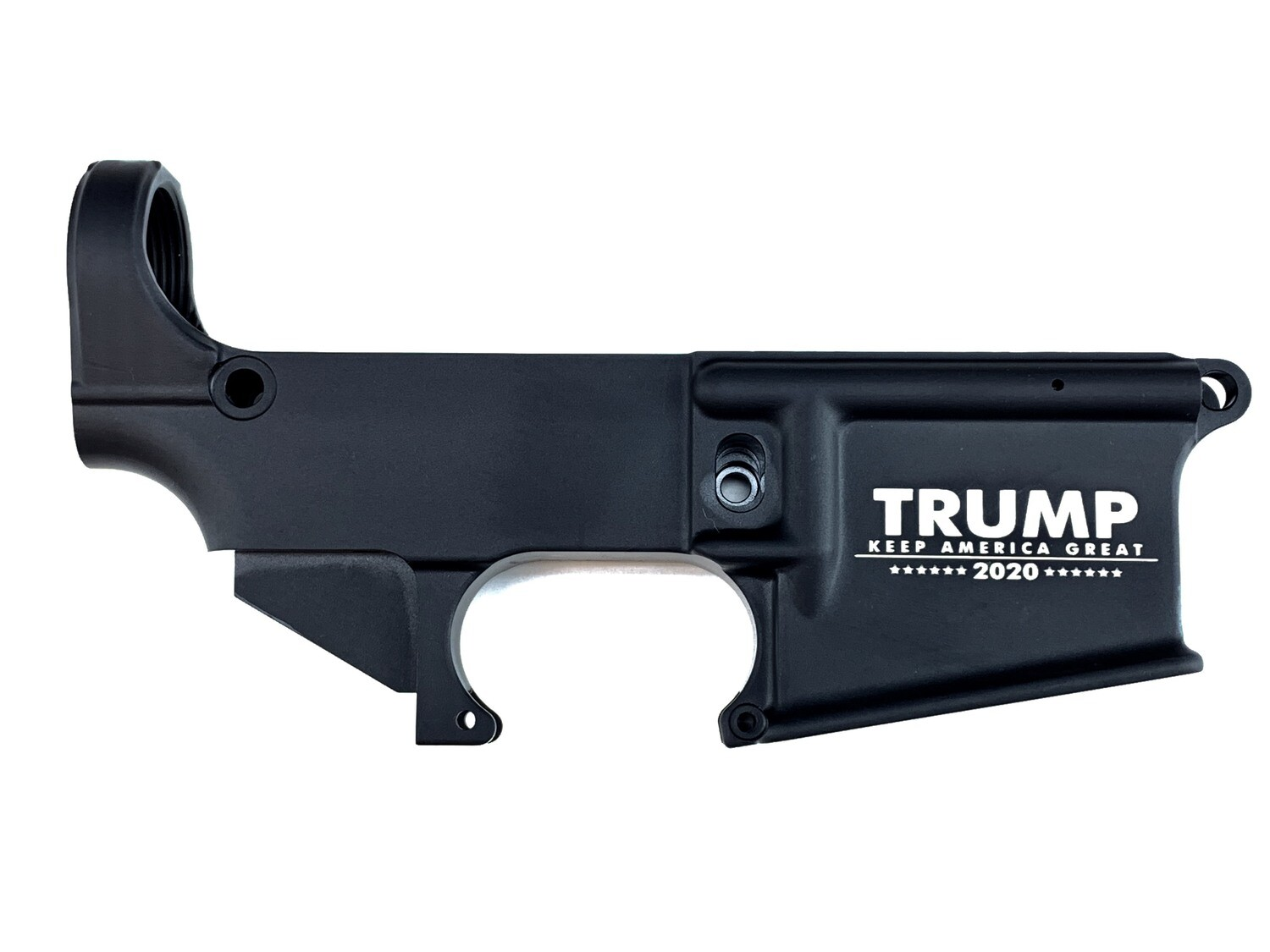 """AR-15 80% """"Trump 2020 Keep America Great"""" Lower Receiver - Black Anodized Forged 5.56/.223"""