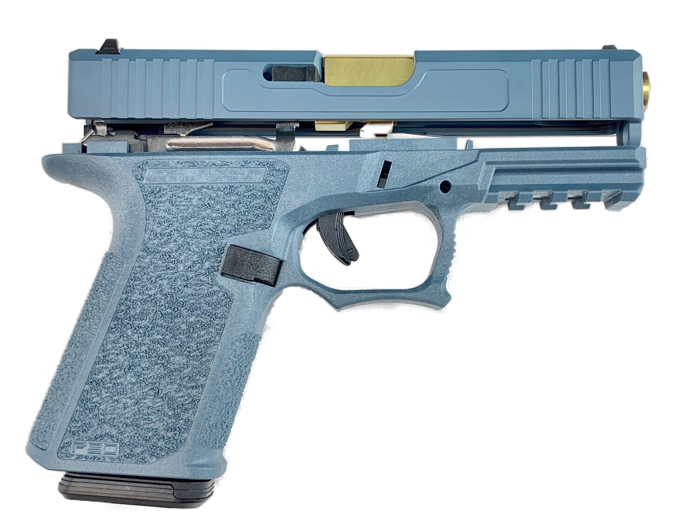 Patriot G19 80% Pistol Build Kit Gold Tin 9mm Barrel - Polymer80 PF940C - Jesse James Blue