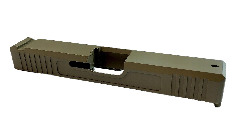 Glock 19 Slide w/ Front & Rear Serrations - Recessed Windows - FDE