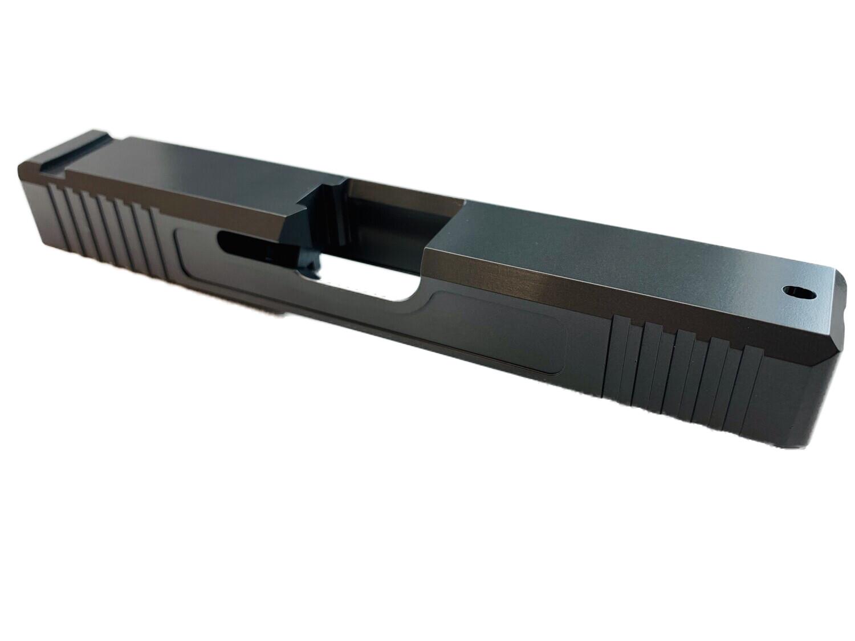 Glock 19 Slide w/ Front & Rear Serrations - Recessed Windows - Sniper Gray