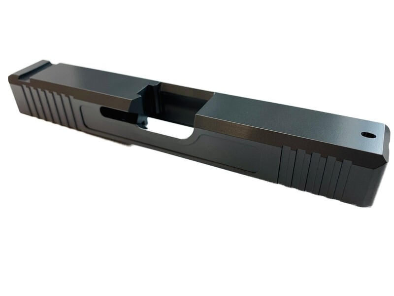 Glock 19 Slide w/ Front & Rear Serrations - Recessed Windows - Sniper Gray