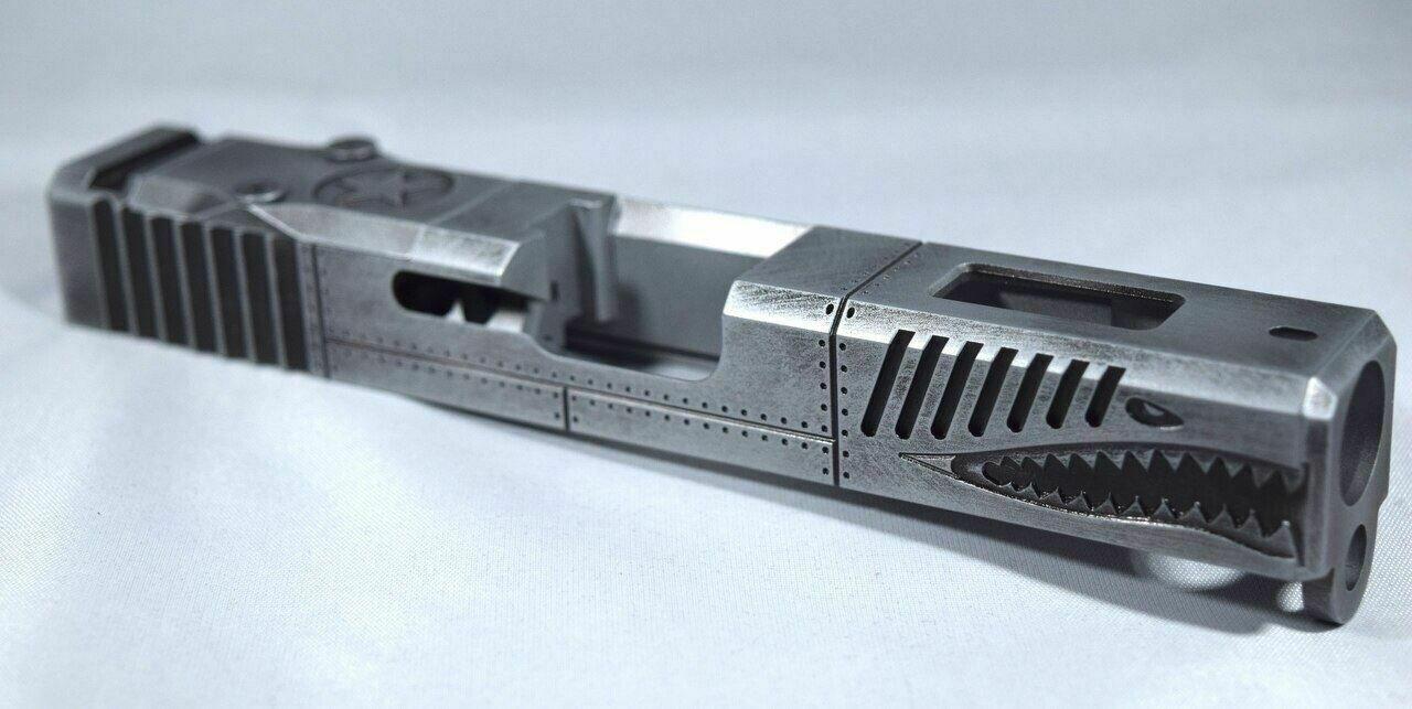 Warhawk Battleworn Gray Slide - Glock 19 Gen 3 P40 - RMR Cut Poly 80