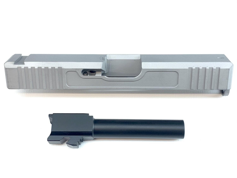 """""""Glock G19 9mm Builder Pack Raw Slide Uncoated w/ Front & Back Serrations - Recessed Windows - Black Nitride Barrel - Pick Your Slide Color"""