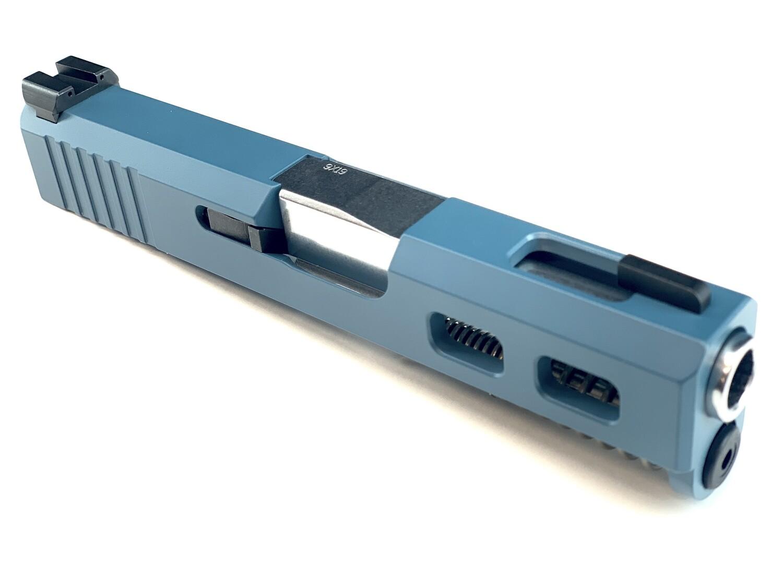 """Glock G43 Slide"" Jesse James Bule - Back Serrations - Side Windows On Each Side - Top Window - Ameriglo Night Sights - Polished Stainless Steel Barrel"