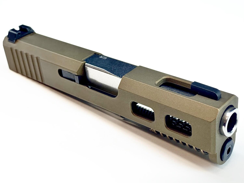 """Glock G43 Slide"" Burnt Bronze - Back Serrations - Side Windows On Each Side - Top Window - Ameriglo Night Sights - Polished Stainless Steel Barrel"