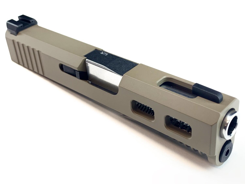 """""""Glock G43 Slide"""" FDE - Back Serrations - Side Windows On Each Side - Top Window - Ameriglo Night Sights - Polished Stainless Steel Barrel"""