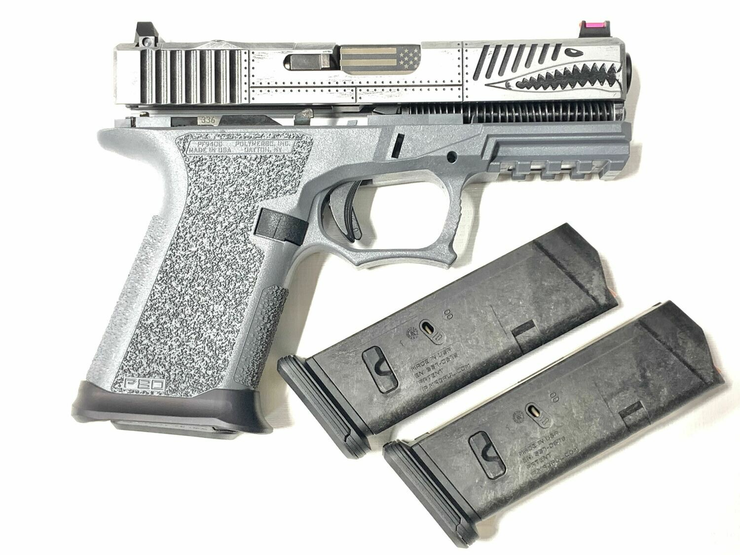 Glock 17 P40 Warhawk Battleworn Gray - 80% Polymer80 Frame Pistol Kit - Comes With 3 Magpul 10rd Magazines