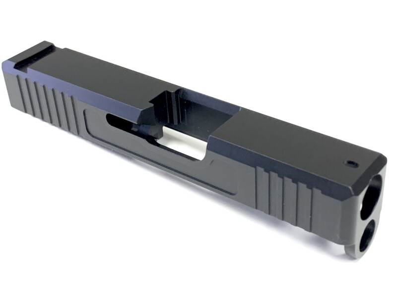 Glock 26 Slide w/ Front & Rear Serrations - Recessed Windows - Black