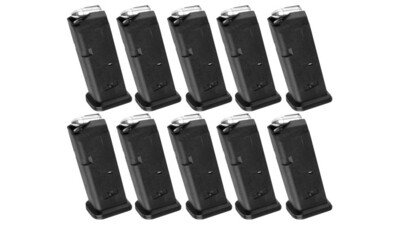 Magpul Industries Glock 19 9mm 10 Pack Of Magazines - PMAG 10 GL9, Glock 19 10-Round 9mm Magazine, Black