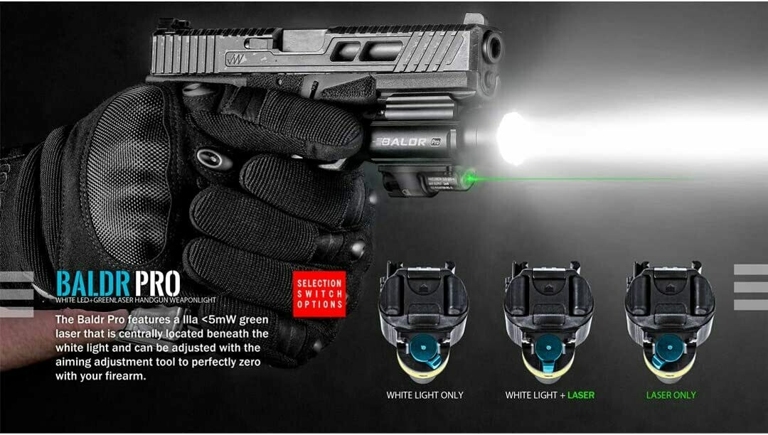 Olight Baldr Pro 1350 Lumen Black Pistol Flashlight with Green Laser Sight
