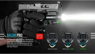 Olight Baldr Pro 1350 Lumen Black Pistol Flashlight with Green Laser Sight