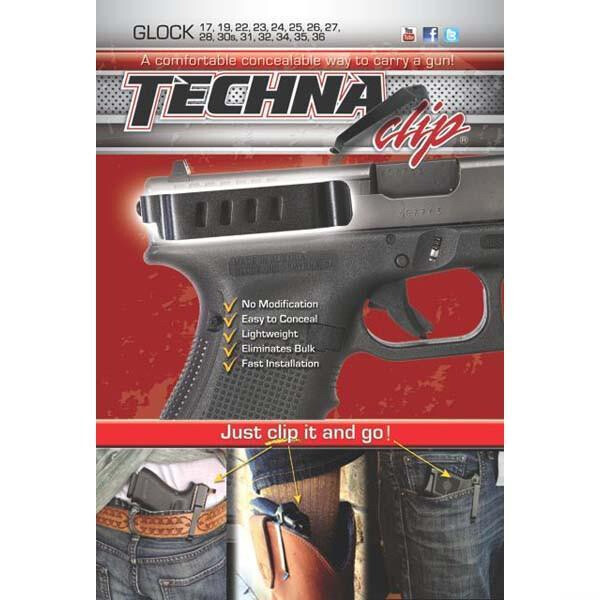 Techna Clip Glock Conceal Carry Gun Belt Clip Compatible with Glock 17/19/22/23/24/25/26/27/28/30S/31/32/33/34/35/36