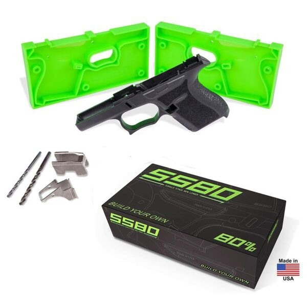 Glockstore SS80 Black Glock 43 80% Frame with Jig Kit - ADD GLOCK 43 LOWER PARTS KIT FOR $49.99