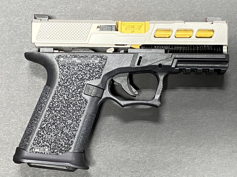 Patriot Warrior Ported Tin Gold Barrel & Windowed G19 80% Pistol Build kit 9mm Black