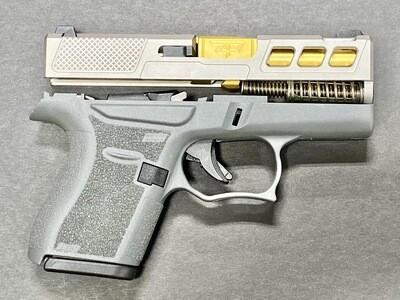 Patriot Warrior Ported Tin Gold Barrel & Windowed G43 80% Pistol Build Kit 9mm Gray
