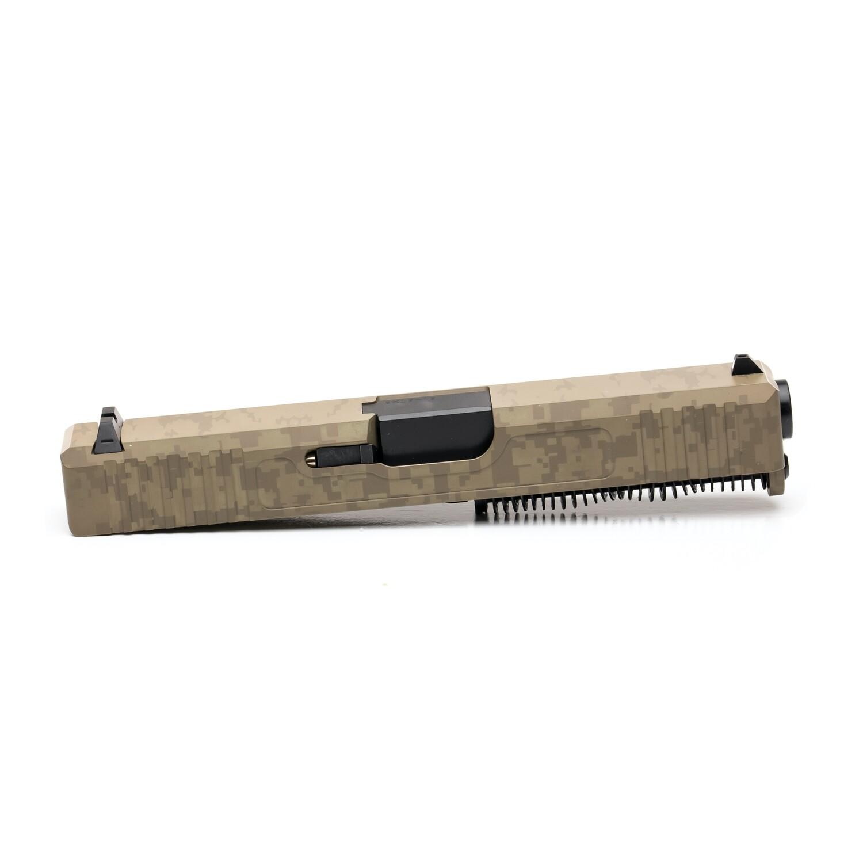 Glock 19 Slide w/ Front & Rear Serrations - Digital camo Laser Engraved - FDE