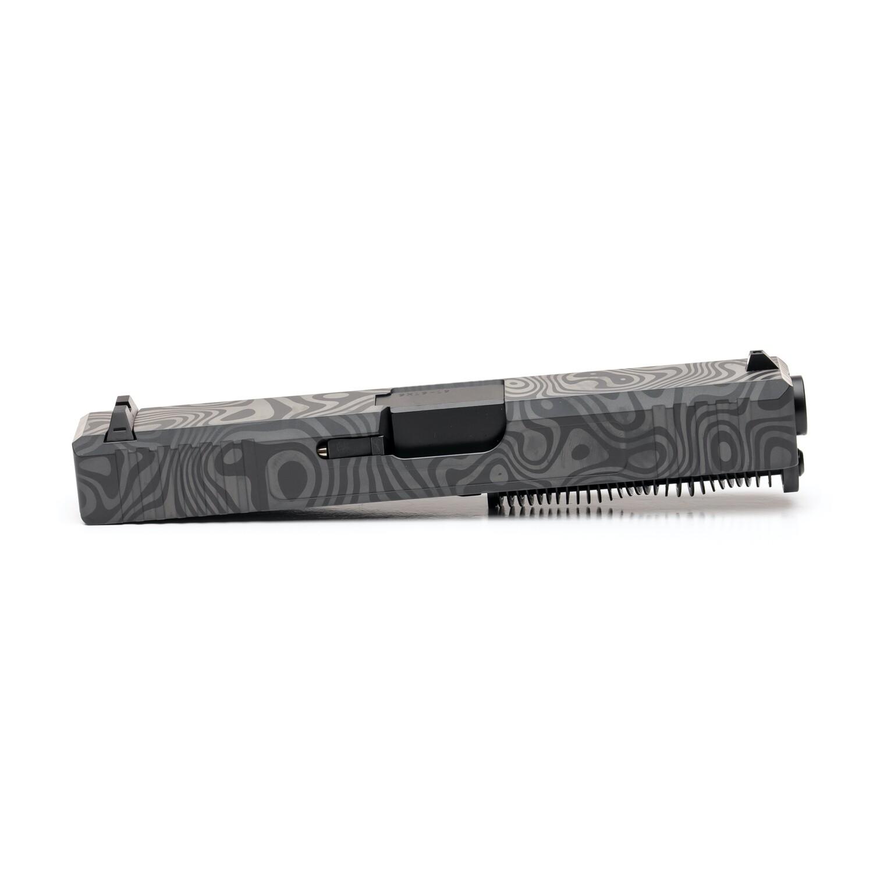 Glock 19 Slide w/ Front & Rear Serrations - Damascus Laser Engraved - Sniper Gray