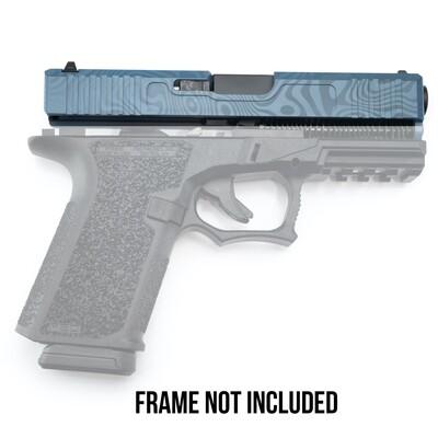 Patriot G19 Kit 9mm Damascus Laser Engraved Blue Slide - Glock OEM Lower Parts Kit