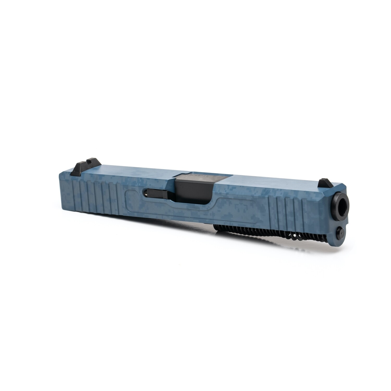 Glock 19 Slide w/ Front & Rear Serrations - Damascus Laser Engraved - Jesse James Blue