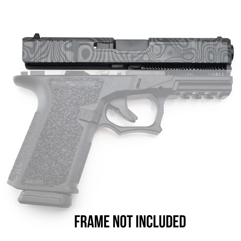 Patriot G19 Kit 9mm Damascus Laser Engraved Sniper Gray Slide - Glock OEM Lower Parts Kit