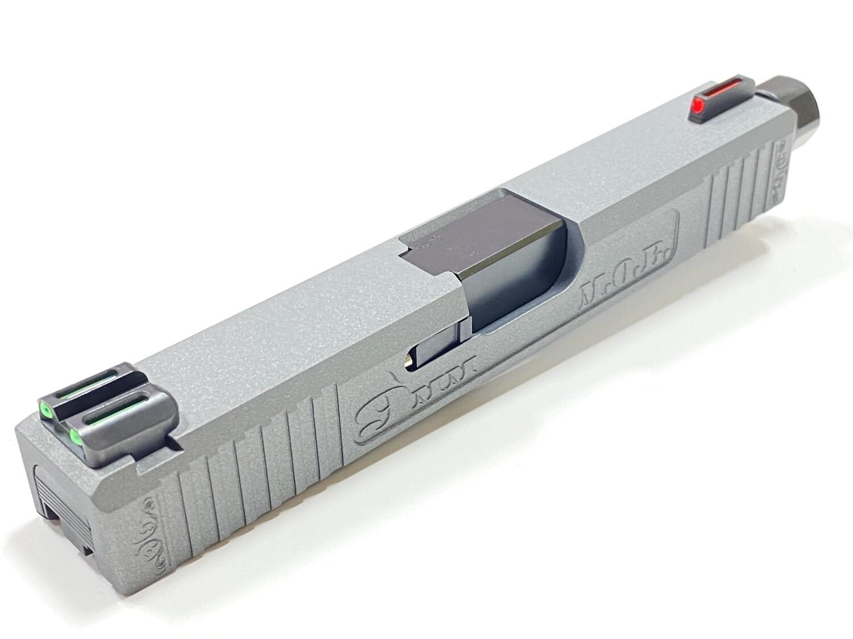 Glock 19 MOB MONEY OVER BITCHES slide w/ Front & Rear Serrations - Recessed Windows - TruGlo Fiber-Optic Sights Tungsten