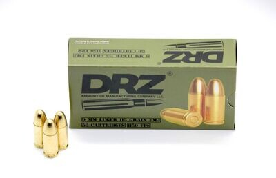 5 Pack Of 50rd Boxes 250 RDS Of DRZ 9MM LUGER 115RGRAIN FMJ